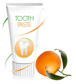 Toothpaste with fresh tangerine. — Stock Vector
