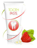 Toothpaste with strawberry. — Stock Vector