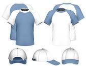 Men's raglan t-shirt & baseball cap. — Stock Vector