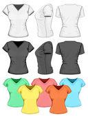 Women's v-neck t-shirt design — Stock Vector