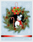 Christmas wreath with snowman — 图库矢量图片