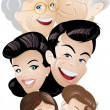 Stock Vector: Family generation cartoon
