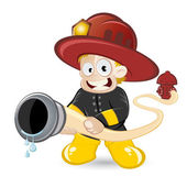 Funny cartoon fireman — Stock Vector