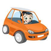 橙色卡通车的女孩 — 图库矢量图片