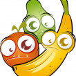 Funny cartoon fruit — Stock Vector