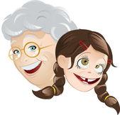 Grandma and granddaughter cartoon — Stock Vector