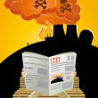 Nuclear disaster cartoon - Stock Vector