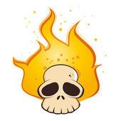 Burning cartoon skull — Stock Vector