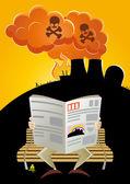 Nuclear disaster cartoon — Stock Vector