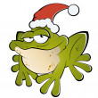 Christmas cartoon frog — Stock Vector