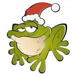 Christmas cartoon frog — Stock Vector