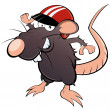 Stock Vector: Funny cartoon rat with helmet