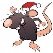 Funny christmas cartoon rat — Stock Vector