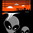 Alien visitors cartoon background - Stok Vektör