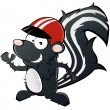Funny cartoon skunk with helmet - Stock Vector
