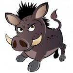 Funny boar cartoon — Stock Vector