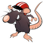Funny cartoon rat with helmet — Stock Vector