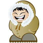 Funny cartoon eskimo — Stock Vector