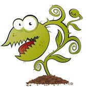 Funny carnivorous plant cartoon — Stock Vector