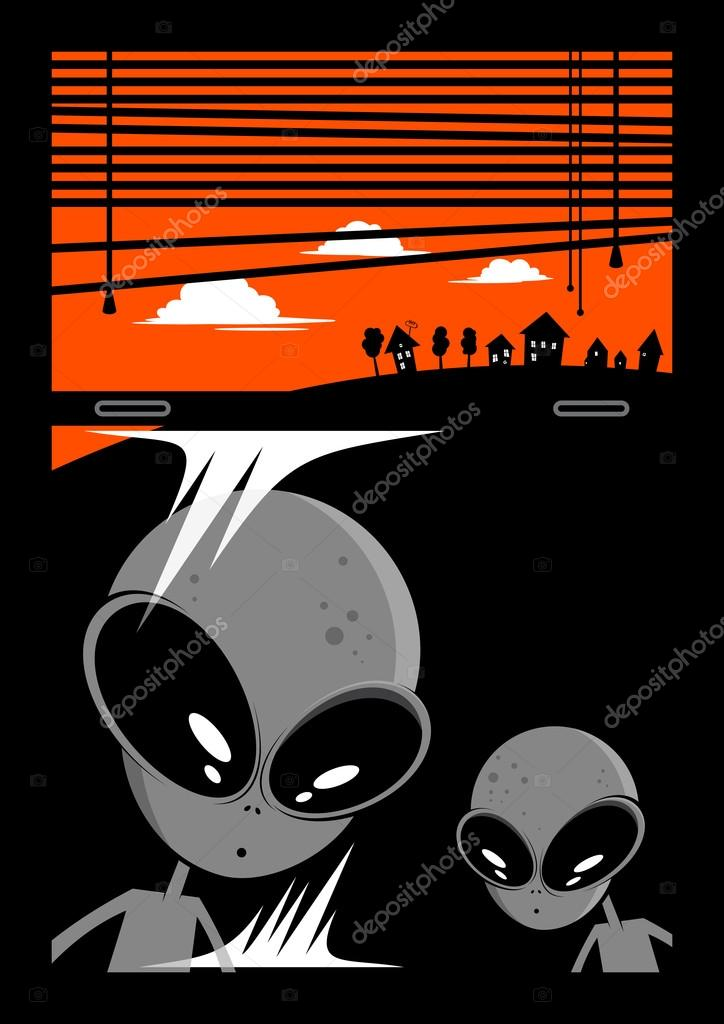 Alien visitors cartoon background  Stock Vector #12525791
