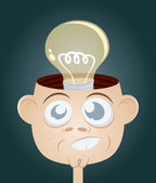 Funny cartoon man with light bulb in his head — Stock Vector