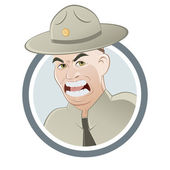 Angry drill instructor — Stock Vector