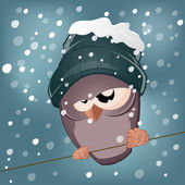 Funny cartoon bird in winter — Stock Vector