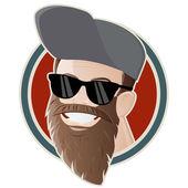 Funny cartoon man with a long beard — Stock Vector