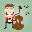 Stock Vector: Funny bass player