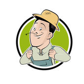 Funny cartoon farmer in a badge — Stock Vector