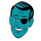 Stylized retro cartoon head with eyepatch — Stock Vector