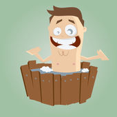 Cartoon man is bathing — Stock Vector