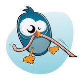 Pássaro de desenhos animados e worm — Vetor de Stock