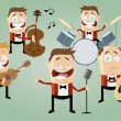 Funny cartoon music band — Stock Vector