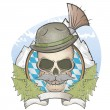 Skull with hat and bavarian gamsbart — Imagen vectorial