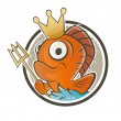 Funny fish king cartoon — Stock Vector