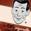 Cigarette smoking cartoon man — Stockvektor