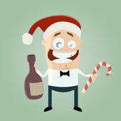 Funny christmas party man — Stock Vector