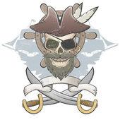 жуткий пиратский череп — Cтоковый вектор