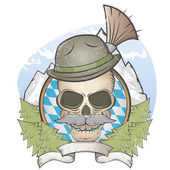 Skull with hat and bavarian gamsbart — Stock Vector