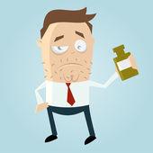 Cartoon man drinks booze — Stock Vector
