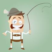 Funny cartoon bavarian in lederhosen with traditional whip — Stock Vector
