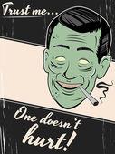 Fumador de cigarrillos está dando un consejo saludable — Vector de stock