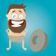 Prehistoric man and wheel — Stock Vector