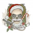 Stock Vector: Scary santclaus skull