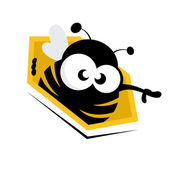 Funny cartoon bee in honeycomb — Vector de stock
