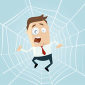 Cartoon man trapped in spiderweb — Stock Vector