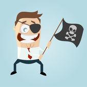 Cartoon man waving pirate flag — Stock Vector