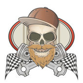 Bearded racing skull with crossed pistons — Vector de stock