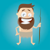 Funny stone age man — Stock Vector